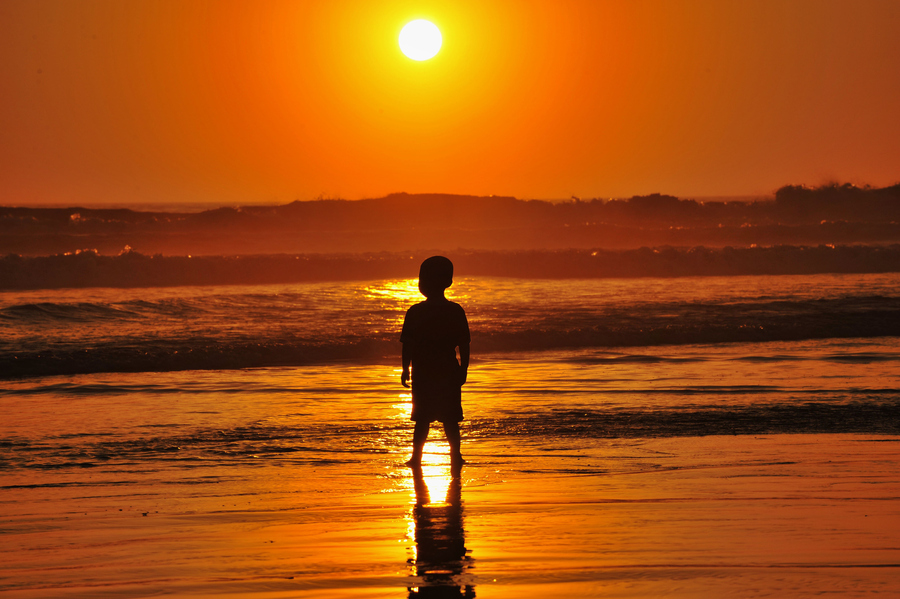 Little Boy on the Beach at Sunset in Oceanside- September 30, 20